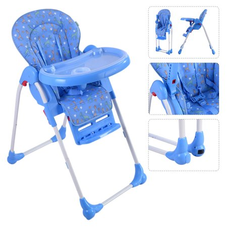 Pleasing Ghp 33 Lbs Capacity Blue Adjustable Baby High Chair Foldable Feeding Booster Seat Gmtry Best Dining Table And Chair Ideas Images Gmtryco