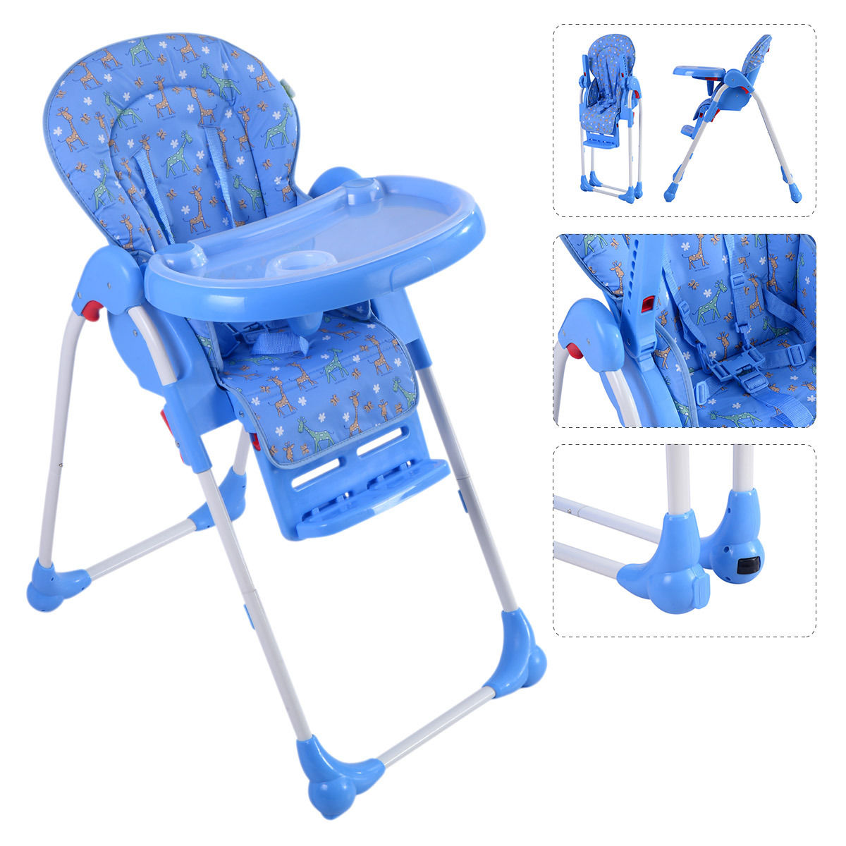 GHP 33-Lbs Capacity Blue Adjustable Baby High Chair Foldable Feeding Booster Seat