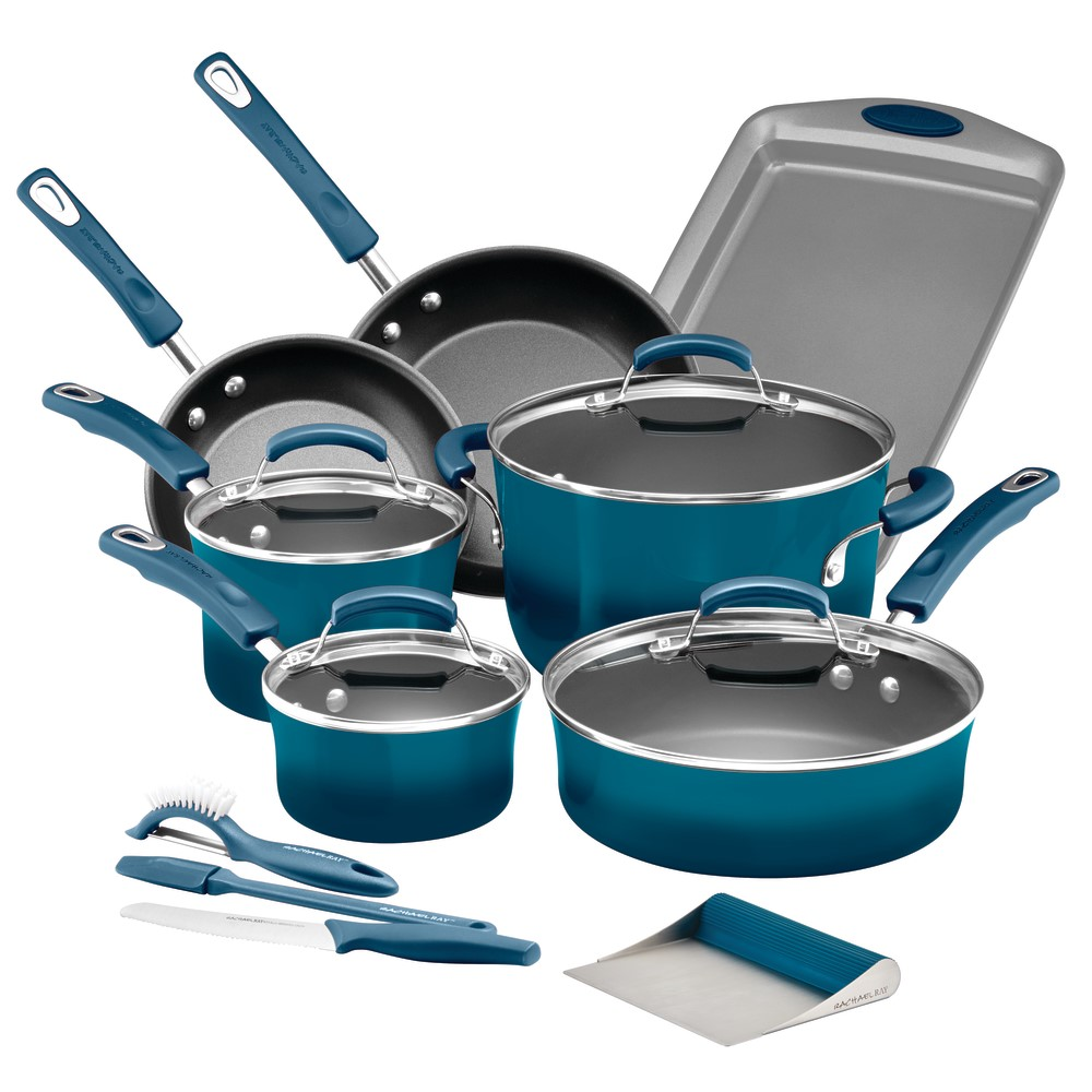 Rachael Ray Classic Brights Hard Enamel Nonstick 15-Piece Cookware Set plus GWP, Marine Blue by Meyer Corporation