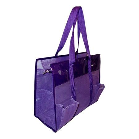 Mesh Shopper Utility Beach Bag Zipper Organizing Tote bag (Purple)