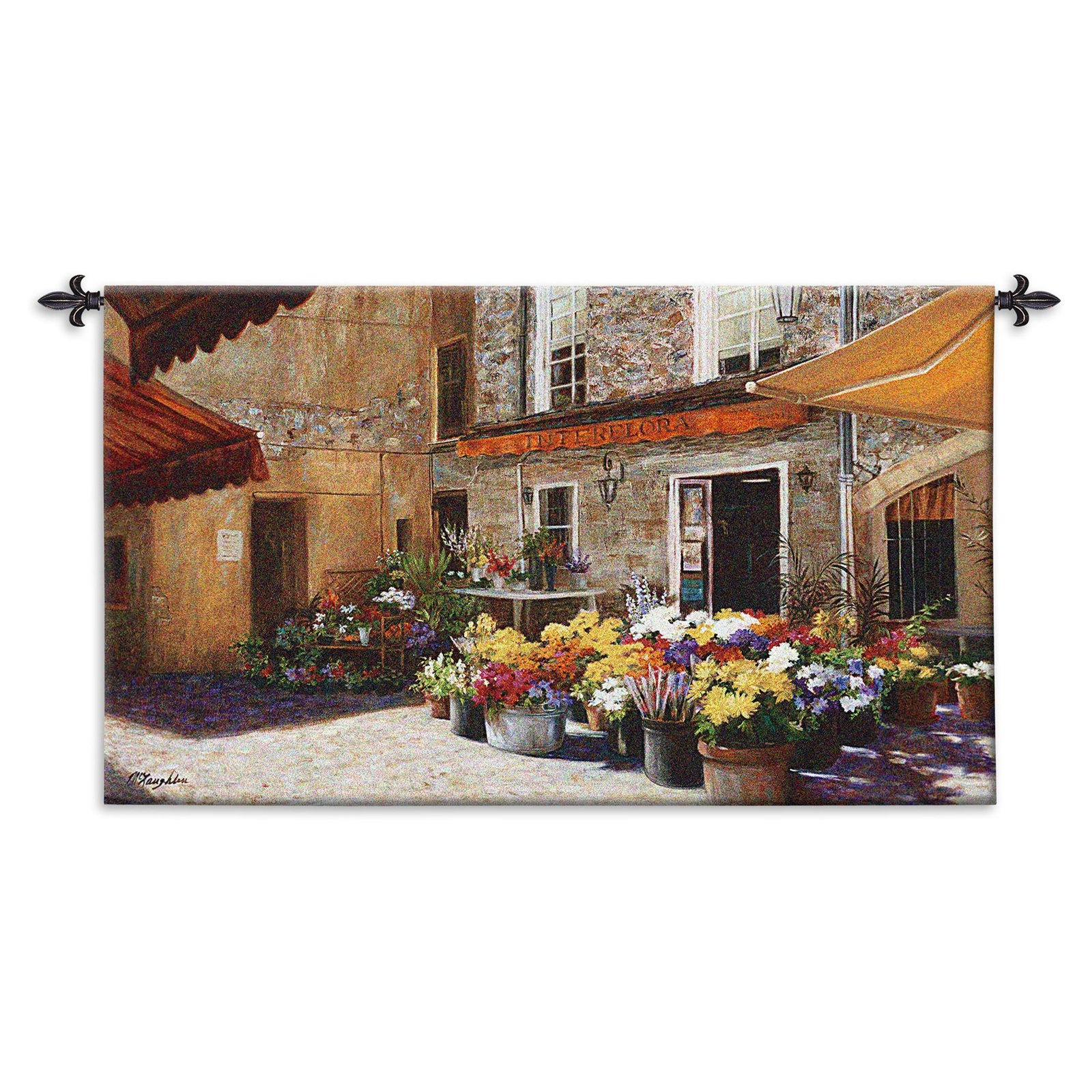 FineArtTapestries 3423-WH Flower Shop Wall Tapestry