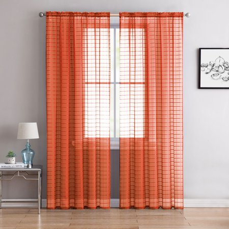 2 Pack Contemporary Plaid Sheer Voile Window Curtains