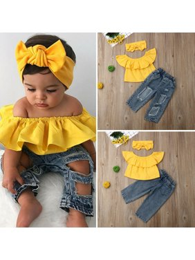 Summer Kids Baby Girl Clothes Off Shoulder Tops+Ripped Denim Jeans Pants Outfits