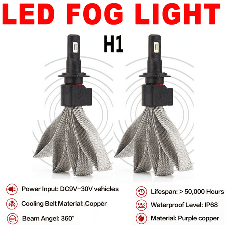 AUTO 1Pair LED Headlight Bulb 6000K Super White H High Po...