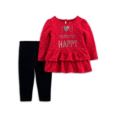 Child of Mine by Carter's Toddler Girl Long Sleeve Shirt and Pant Set, 2 pc set