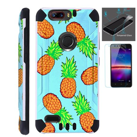 For ZTE Blade Z Max (Metro PCS) / ZTE ZMax Pro 2 / ZTE Grand X Max 4 / ZTE Sequoia Case + Tempered Glass Slim Dual Layer Brushed Texture Hybrid TPU KomBatGuard Phone Cover (Teal Pineapple) ()