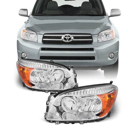 Fits 2006 2007 2008 Toyota Rav4 Left + Right Side Headlights Front Lamps Pair Side Front Lamp