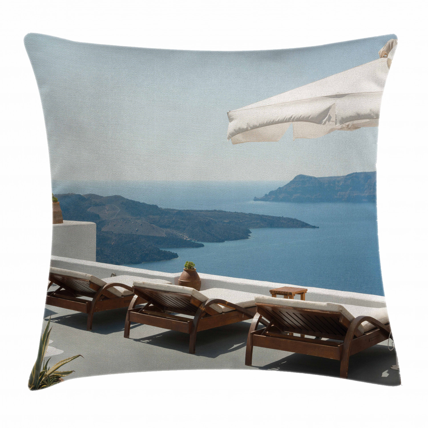 Travel Decor Throw Pillow Cushion Cover Sunbathing With Caldera View Terrace Santorini Aegean Greece Print Decorative Square Accent Pillow Case 24 X 24 Inches Blue White And Green By Ambesonne Walmart Com