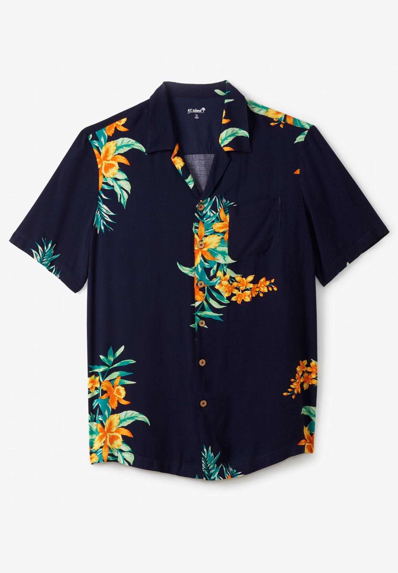 Ks Island Men's Big & Tall Tropical Caribbean Print Shirt
