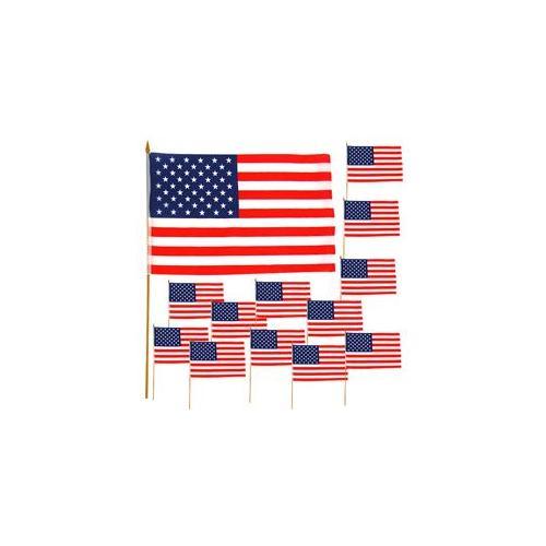 One dozen 12 inch x 18 inch Cloth American Flags