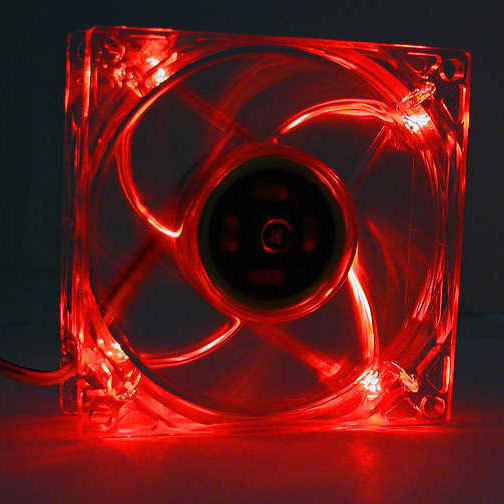 Logisys LT400RD 80mm Lighted Clear RED DC Computer Case Fan w/ 3+4pin Power NEW