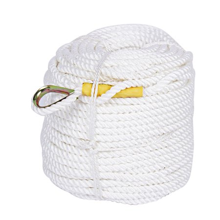- Braided Nylon Strong Triple-Strand Anchor Rope Boat Line with Thimble 1/2 inch x 295 feet,White