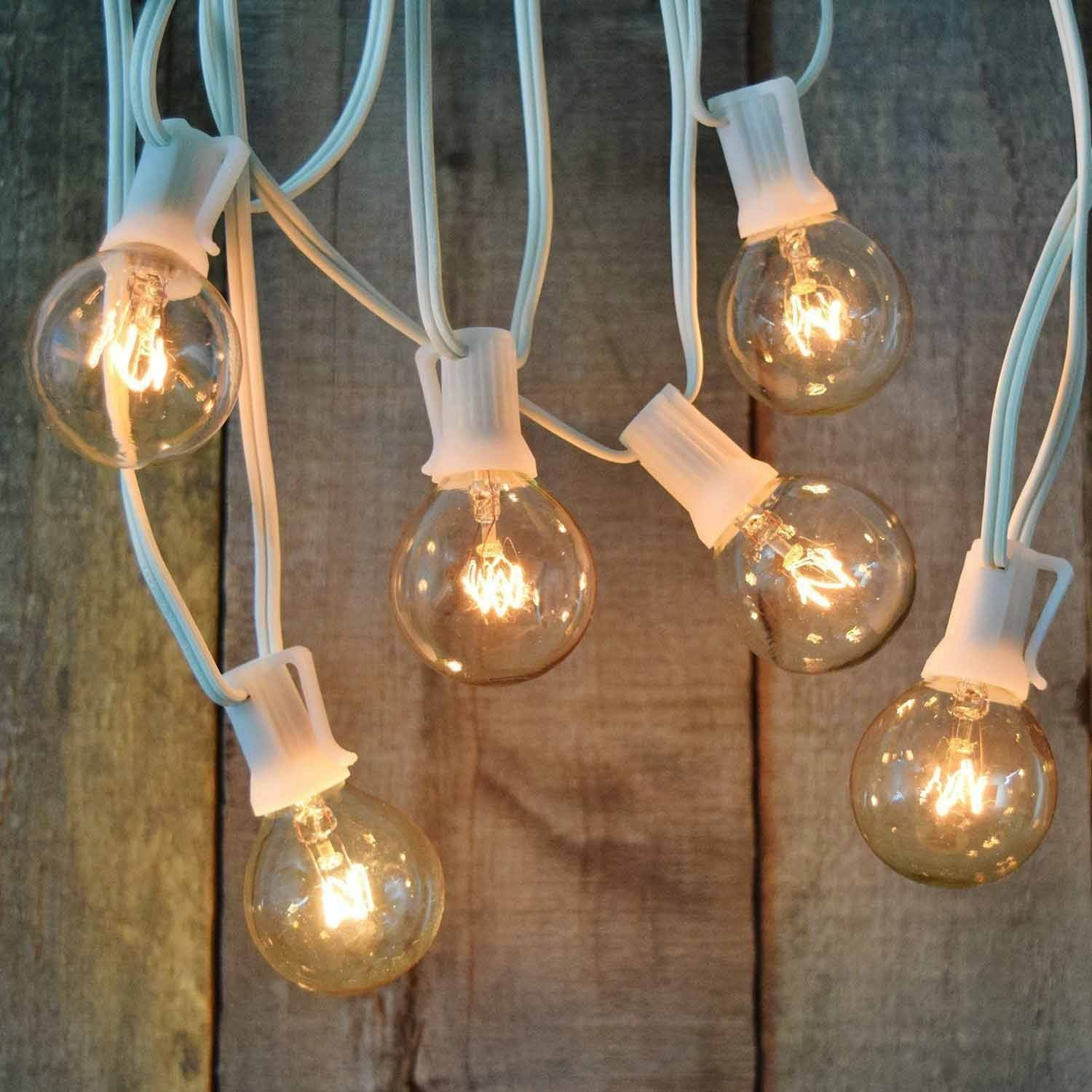 Indoor globe string lights - Brightech Ambience Outdoor String Lights With 25 G40 Clear Globe Bulbs Commercial Quality Ul Listed Indoor And Outdoor Use Natural Warm White Light