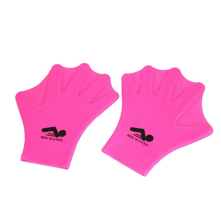 Pair Fuchsia Silicone Diving Swimming Training Webbed Gloves Hand Paddles
