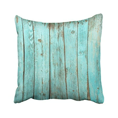 WinHome Decorative Turquoise Wood Teal Barn Wood Weathered Beach Pillow Cover for Sofa or Bedroom Size 20x20 inches Two Side ()