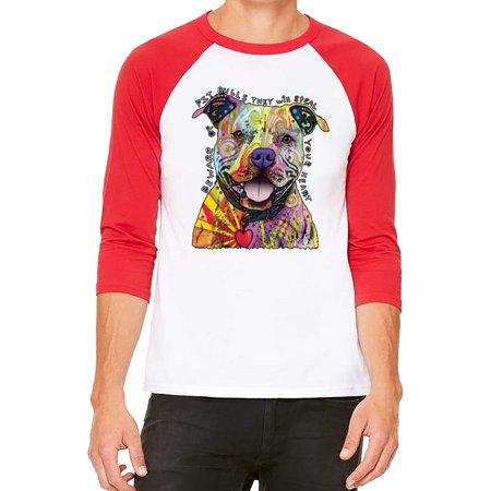 Unisex Neon Beware Of Pitbull White/Red C5 3/4 Sleeve Baseball T-Shirt X-Large