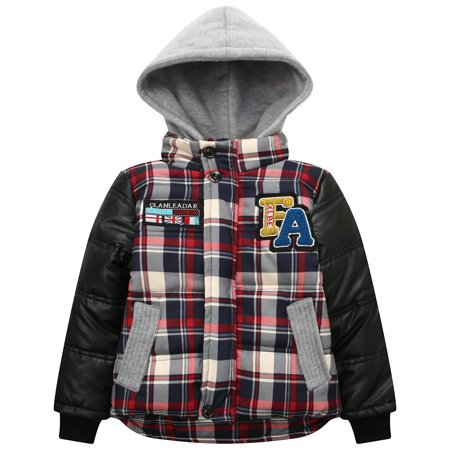 Richie House Little Boys Red Plaid Faux Leather Hooded Padding Jacket 2/3 ()