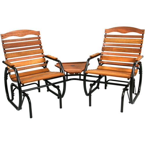 """Jack Post CG-30Z 35-1/2"""" x 75-1/4"""" x 36-3/4"""" 2-Seat Wood Glider with Table"""