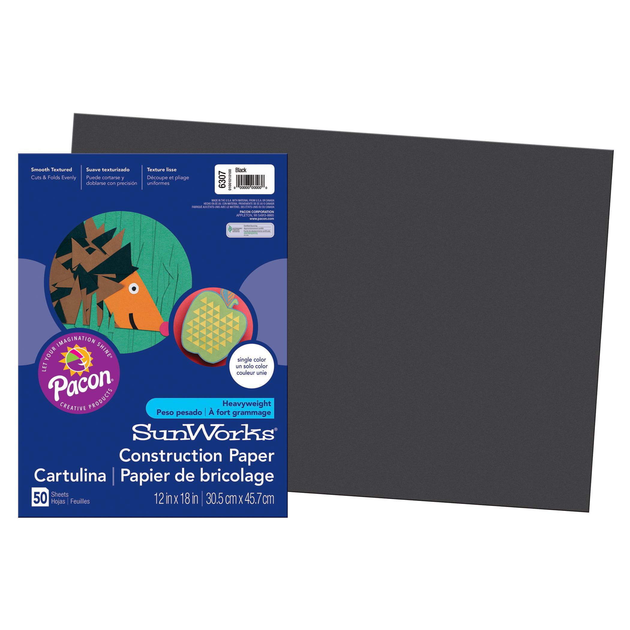 "Pacon® SunWorks® Construction Paper, 12"" x 18"", Black - 50 Sheets per pack, 8 packs"