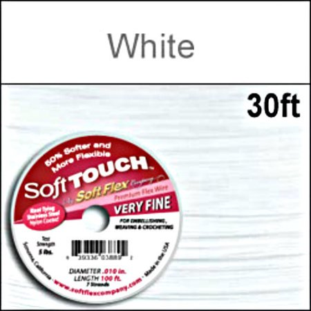 Soft Touch Best Beading Wire WHITE .010 Inch 30 Feet Soft