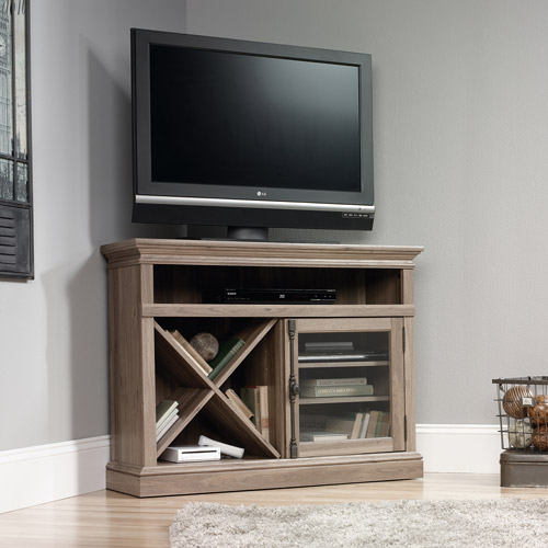 "Sauder Barrister Lane Corner Entertainment Stand for TVs up to 42"", Salt Oak"