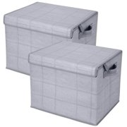 2 Pack Foldable Large Storage Bins, Collapsible Cubes - Gray/Windowpane