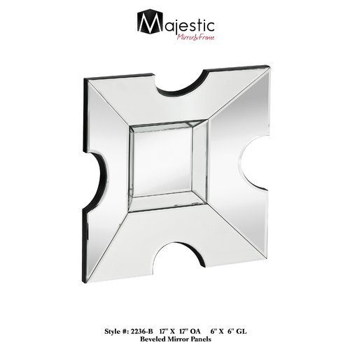 Majestic Mirror Small Contemporary Wood Framed Square Glass Hanging Wall Mirror