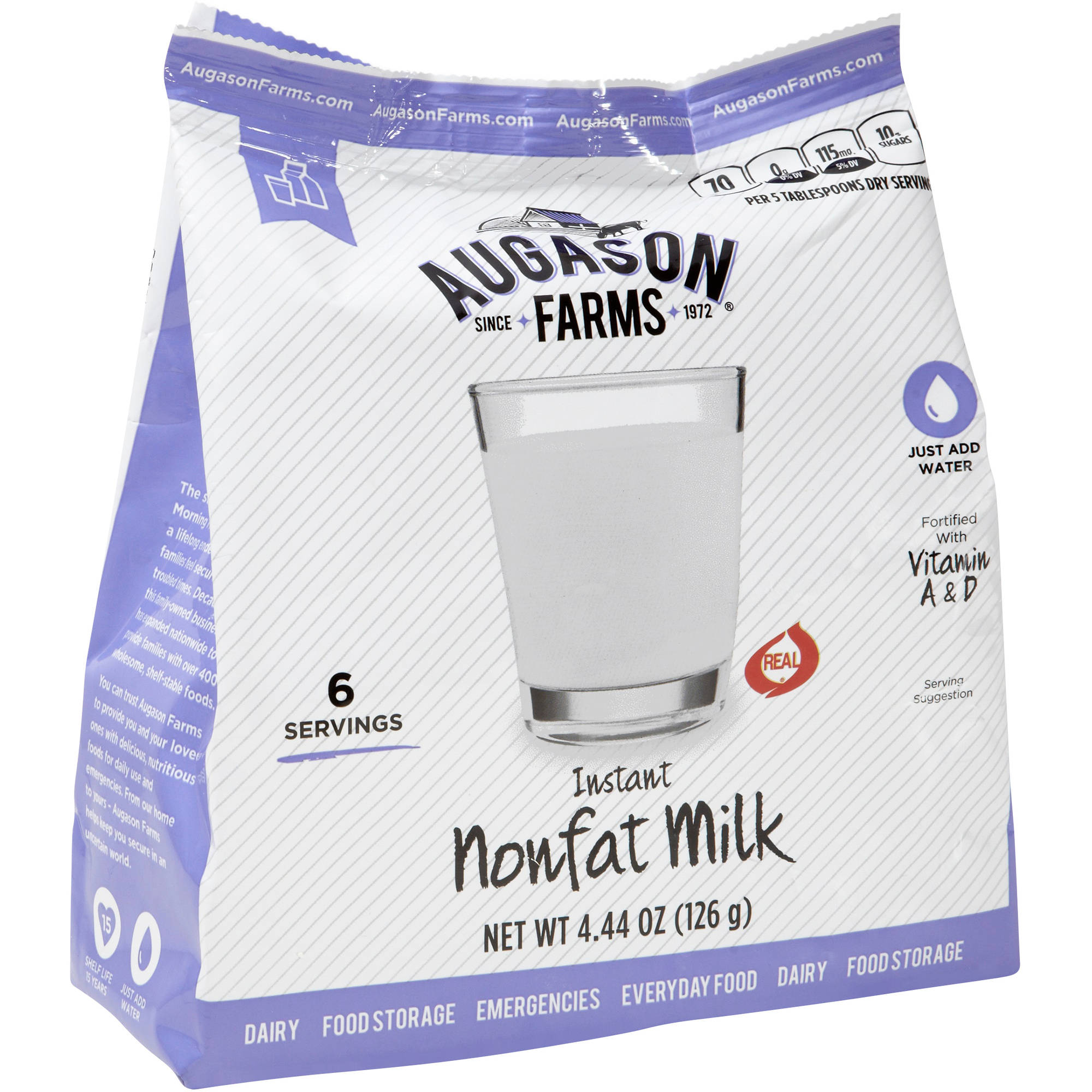 Augason Farms Instant Nonfat Milk, 4.44 oz