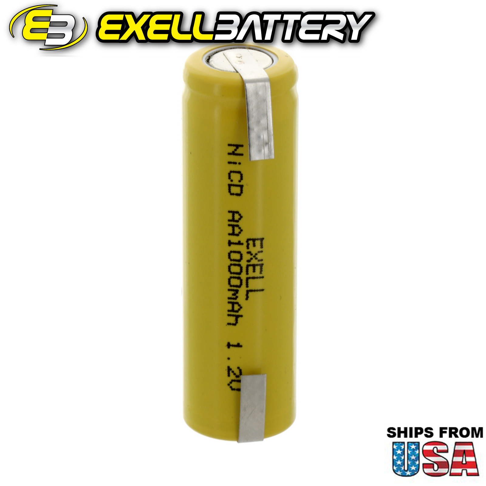 Exell AA 1.2V 1000mAh NiCD Rechargeable Battery with Tabs FAST USA SHIP