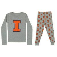 OuterStuff NCAA Kids Illinois Fighting Illini Long Sleeve Tee and Pant Sleep Set