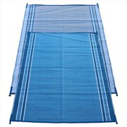 Fireside Patio Mats Hawaiian Blue 5 ft. x 7 ft. Polypropylene Indoor-Outdoor Reversible Patio-RV Mat
