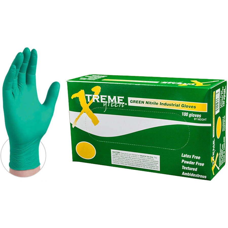 Xtreme Green Nitrile Industrial Disposable Gloves, Small by AMMEX