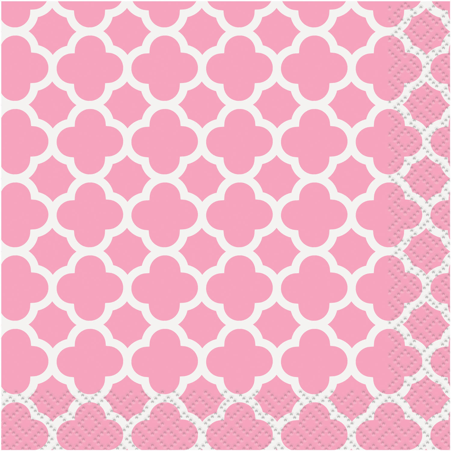 Light Pink Quatrefoil Beverage Napkins, 30-Count
