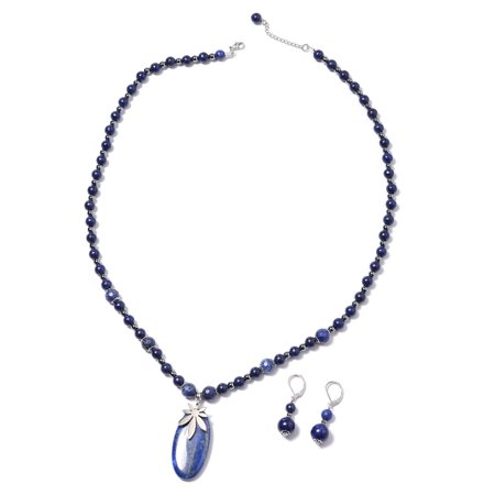 Stainless Steel Lapis Lazuli Hematite Earrings Necklace Jewelry Set Gift for Women Size 21