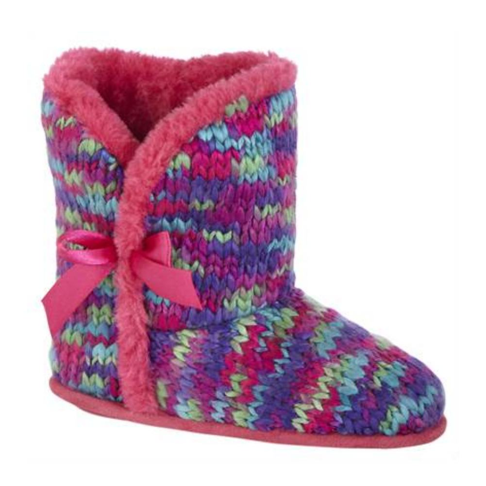 Bongo Girls Multi Yarn Boot Slippers Plush Faux Fur Booties House Shoes