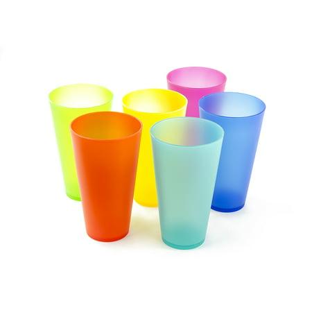 6 Pcs Plastic Cups 16 Oz Tumbler Cups - Reusable Plastic Party Cups