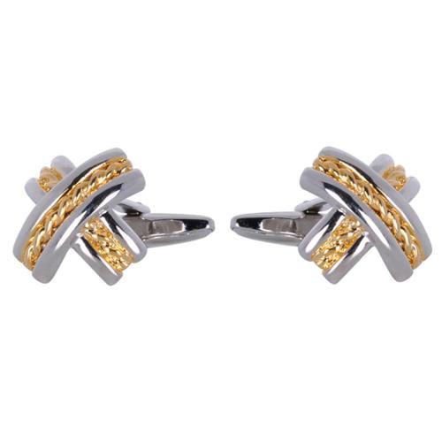 Cuff Daddy  Metal Goldtone and Silvertone X-design Cuff Links