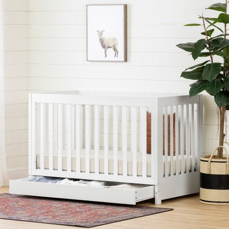 South Shore Yodi Crib with Drawer , White