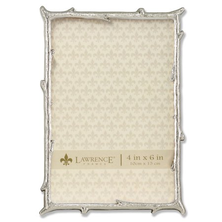 4x6 silver metal picture frame with natural branch design. Black Bedroom Furniture Sets. Home Design Ideas
