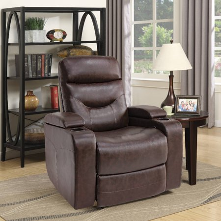 The Relax A Lounger® Stanley Recliner Chair w. LED Cup-holder & Storage Faux Leather, JAVA ()