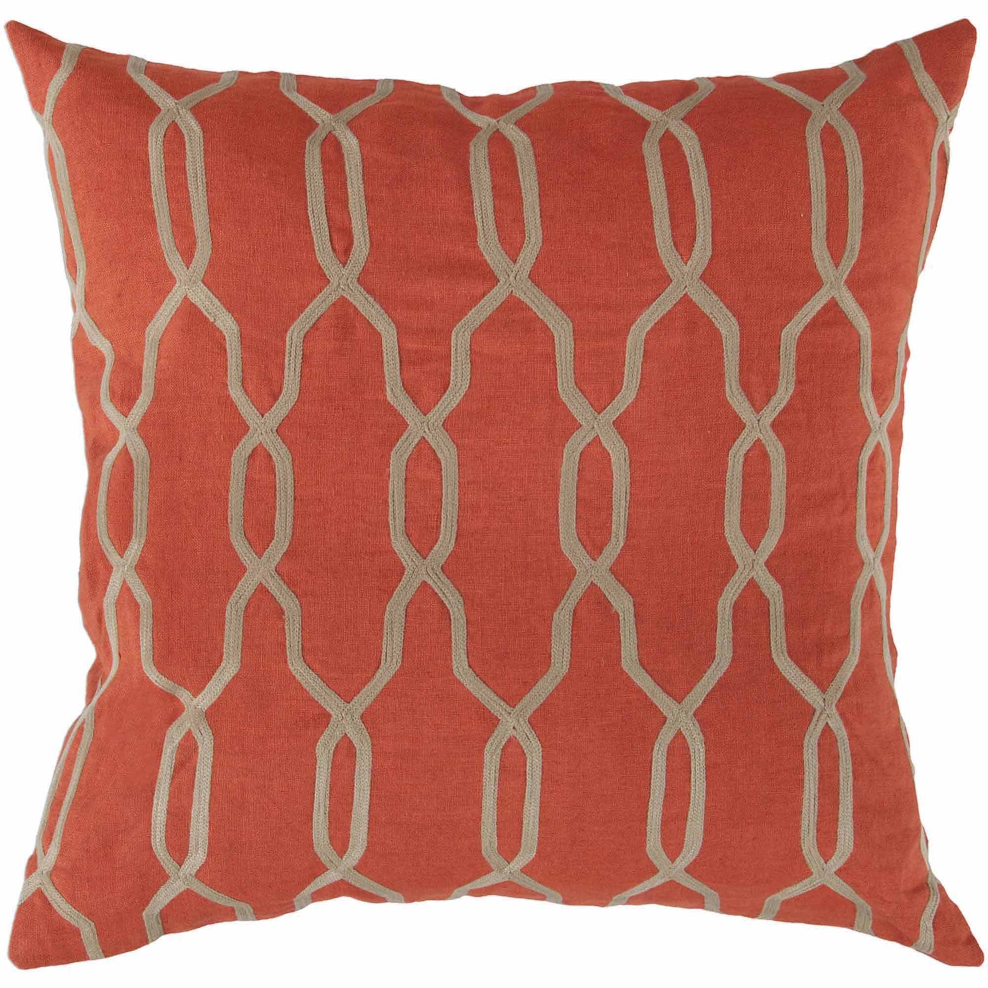 Art of Knot Amherst Hand Crafted Geometric Lattice Linen Decorative Pillow with Poly Filler, Poppy