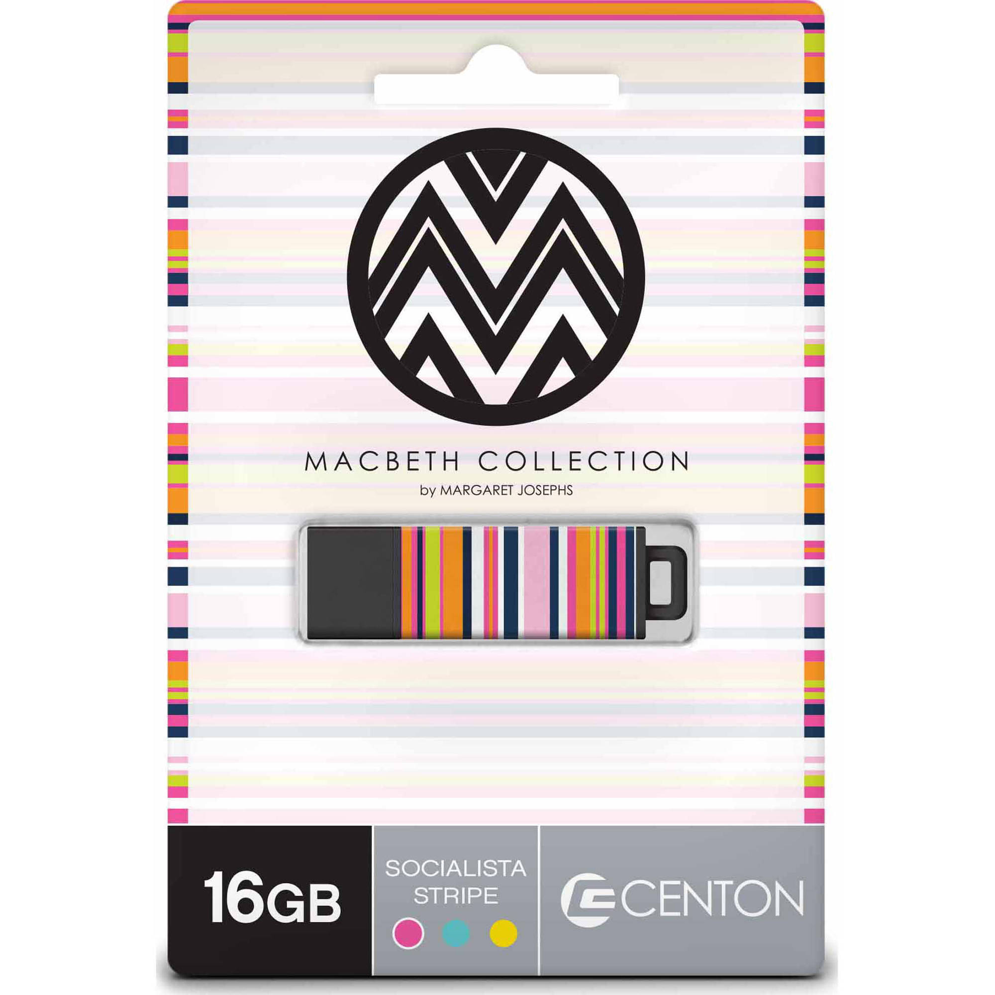 Centon 16GB PRO2 Macbeth USB Flash Drive, Soc Stripe