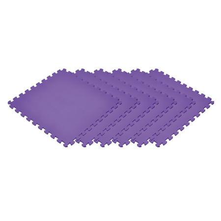 Norsk Purple 24 in. x 24 in. EVA Foam Non-Toxic Solid Color Interlocking Tiles, 18