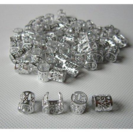 Led Dreadlocks (Dread Lock Dreadlocks Braiding Beads Silver Metal Cuffs Hair Accessories Decoration Filigree Tube Silver 8mm 10pcs Pack , 8mm Diameter size By)
