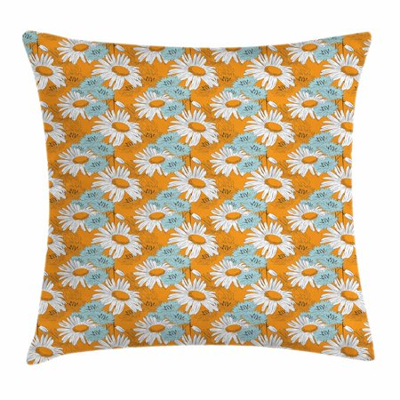 Orange Throw Pillow Cushion Cover, Blooming Spring Daisies on Orange Backdrop Romantic Feminine Petals, Decorative Square Accent Pillow Case, 18 X 18 Inches, Orange Pale Blue and White, by Ambesonne