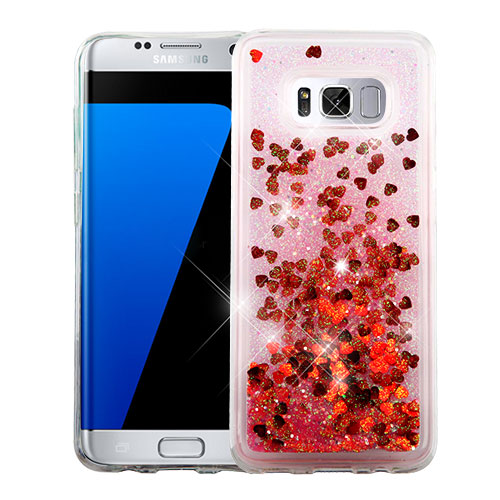 Samsung Galaxy S8 Phone Case BLING Hybrid Liquid Glitter Quicksand Rubber Silicone TPU Protector Hard Cover - Red Hearts