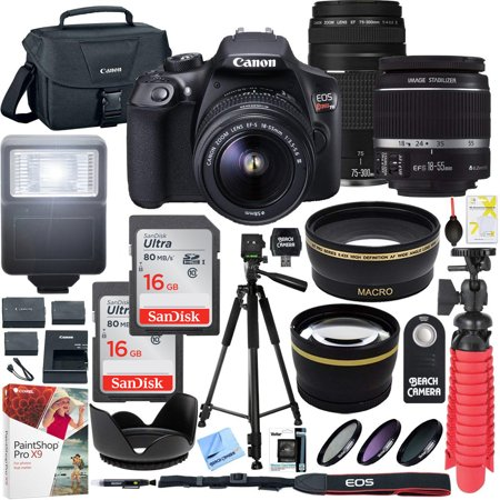Canon T6 EOS Rebel DSLR Camera with EF-S 18-55mm f/3.5-5.6 IS II and EF 75-300mm f/4-5.6 III Lens and SanDisk Memory Cards 16GB 2 Pack Plus Triple Battery Accessory