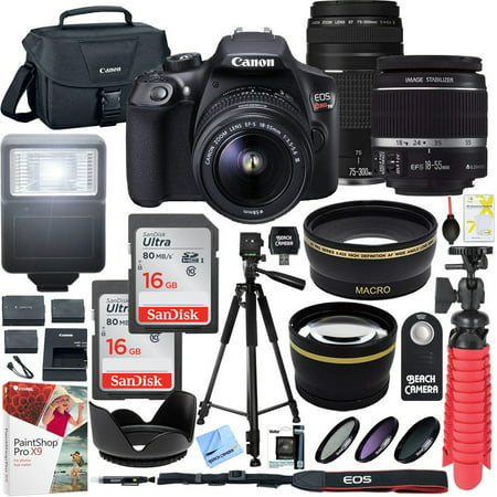 Canon T6 EOS Rebel DSLR Camera with EF-S 18-55mm f/3.5-5.6 IS II and EF 75-300mm f/4-5.6 III Lens and SanDisk Memory Cards 16GB 2 Pack Plus Triple Battery Accessory - Most Eos Cameras