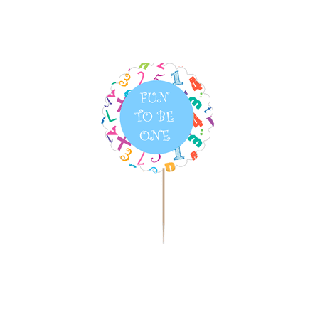 12pack Fun to Be One 1st Birthday Cupcake Decoration Toppers / Picks -Blue