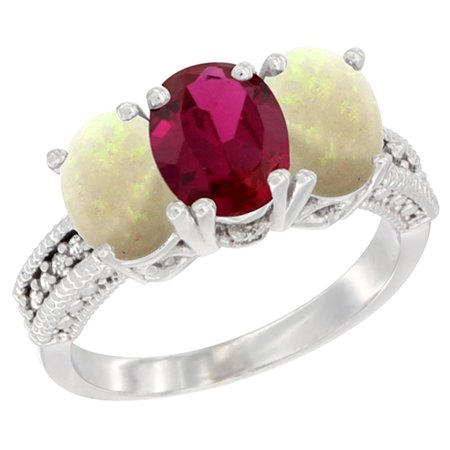 14K White Gold Enhanced Ruby & Natural Opal Sides Ring 3-Stone 7x5 mm Oval Diamond Accent, sizes 5 - - Ruby Slide